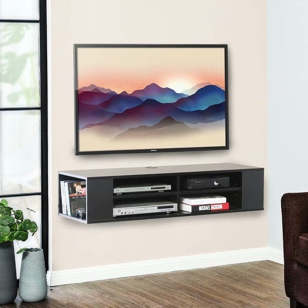 Fitueyes Floating Tv Stand Wall Mount Media Shelf Entertainment Center 48 Overstock 32335891