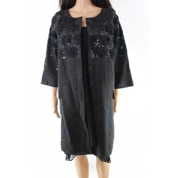 d7e573fdf8 Shop Beautiful Stories Gray Black Sequin Beaded Small S Jacket Wool - Free  Shipping On Orders Over  45 - Overstock - 26921043