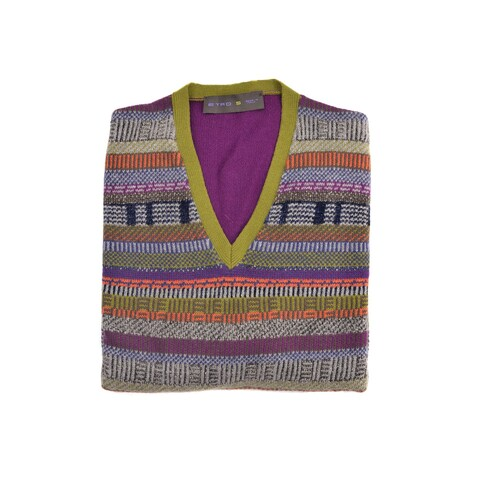 Etro Green Colorblock Mixed Knit V Neck Long Sleeved Sweater