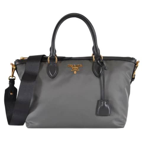 Prada 1BA104 Borsa A Mano Ardesia Grey Nylon 2-Way Zip Purse Handbag Bag