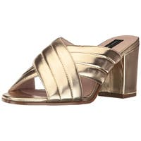 STEVEN by Steve Madden Womens Zada Leather Open Toe Casual Slide Sandals