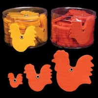 "Club Pack of 144 Orange Fuzzy Felt Roosters in Assorted Sizes 1"", 2"", 3"""