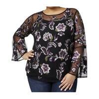INC Black Women's Size 1X Plus Floral Embroidered Mesh Blouse