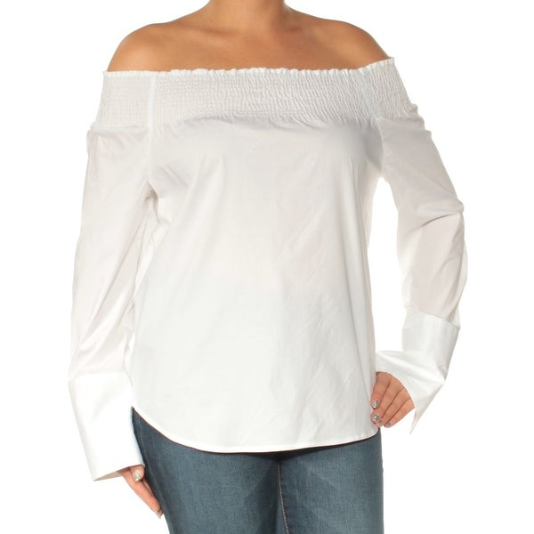 6f33af15 Shop TOMMY HILFIGER Womens White Long Sleeve Off Shoulder Top Size: L - On  Sale - Free Shipping On Orders Over $45 - Overstock - 23451361