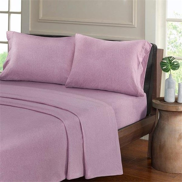 Shop Heathered Cotton Jersey Knit Sheet Set Purple King Size