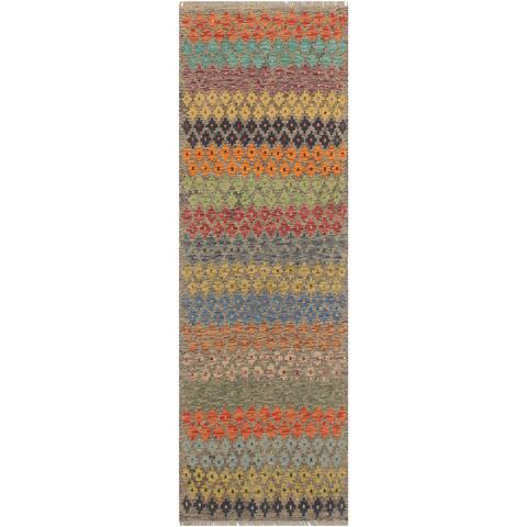 "Retro Kilim Arnette Grey Rust Hand Woven Rug - 2'9"" x 6'6"" - 2'9"" x 6'6"""