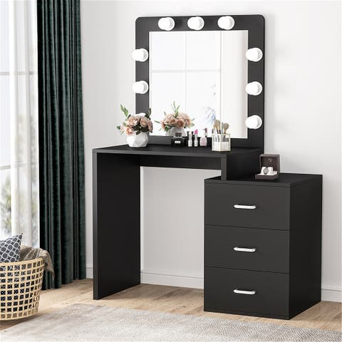 Vanity Table with 9 Light Bulbs Mirror and Drawers