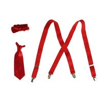 Boys Red Suspender Bow-Tie Tie Combo Special Occasion Set - One Size