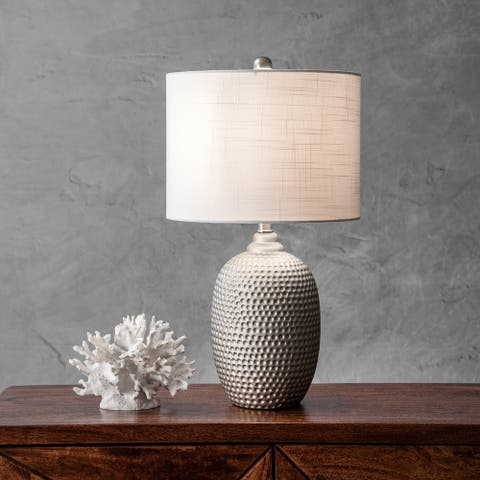 "nuLOOM 21"" Stippled Metal Vase Cotton Shade Table Lamp"