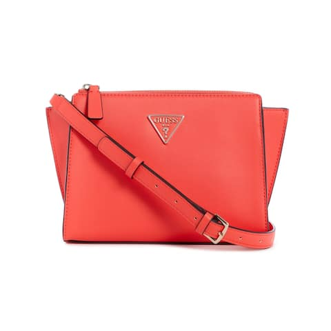 Guess Women's Tangey Mini Crossbody Top Zip Cross Body Bag - Coral - Red