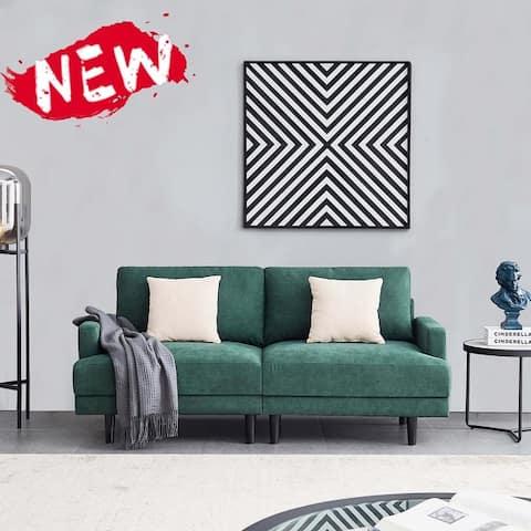 Seat for 2 Square Armrest Fabric Sofa,Emerald
