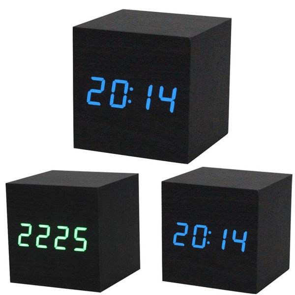 1Pc Digital Led Black Wooden Wood Desk Alarm Brown Clock Voice Control. Opens flyout.