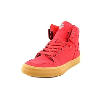 Supra Vaider Men Round Toe Canvas Red Skate Shoe