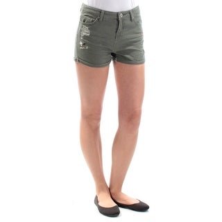 VANILLA STAR $39 Womens New 1213 Green Frayed Cuffed Casual Short 1 Juniors B+B