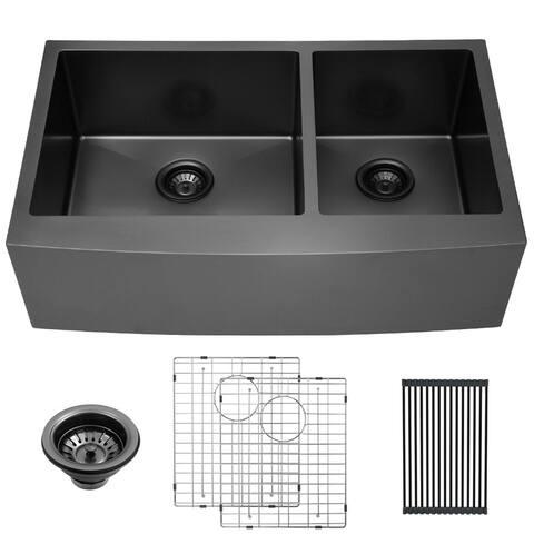 Lordear 33 inch Farmhouse Kitchen Sink Double Bowl 16-Gauge Stainless Steel Apron Front Gunmetal Black 60/40 Farm kKitchen Sink