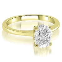1.00 cttw. 14K Yellow Gold Solitaire Oval Cut Diamond Engagement Ring