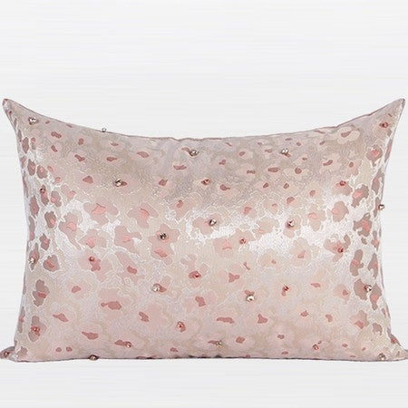 """G Home Collection Luxury Pink Leopard Pattern Handmade Beaded Pillow 14""""X20"""""""