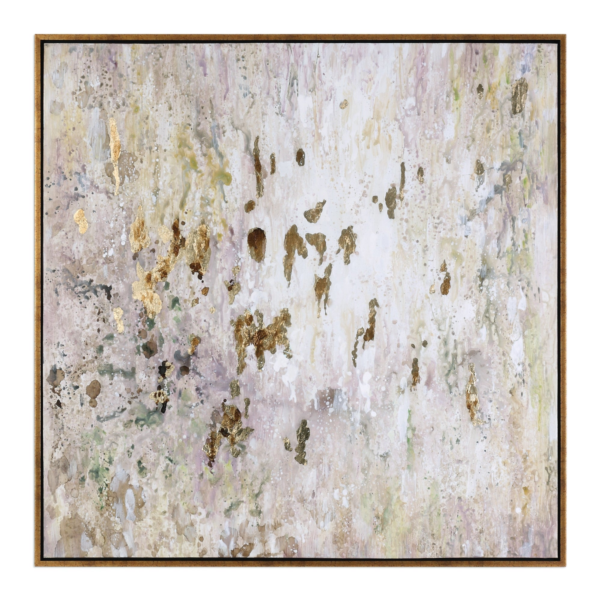 Uttermost 34362 Golden Raindrops 62 X 62 Framed Abstract Painting On Browns Silver Leaf Frame Overstock 30839187