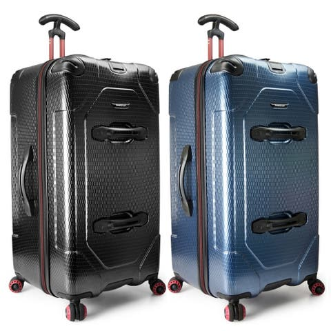 """Traveler's Choice Maxporter Ii Anti-Theft Polycarbonate 31"""" Large Checked Hardside Trunk Spinner Luggage Suitcase In"""