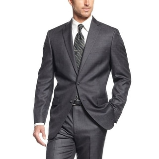 Calvin Klein Steel Sportcoat 42 Short 42S Charcoal Check Slim Fit 2-Buttons