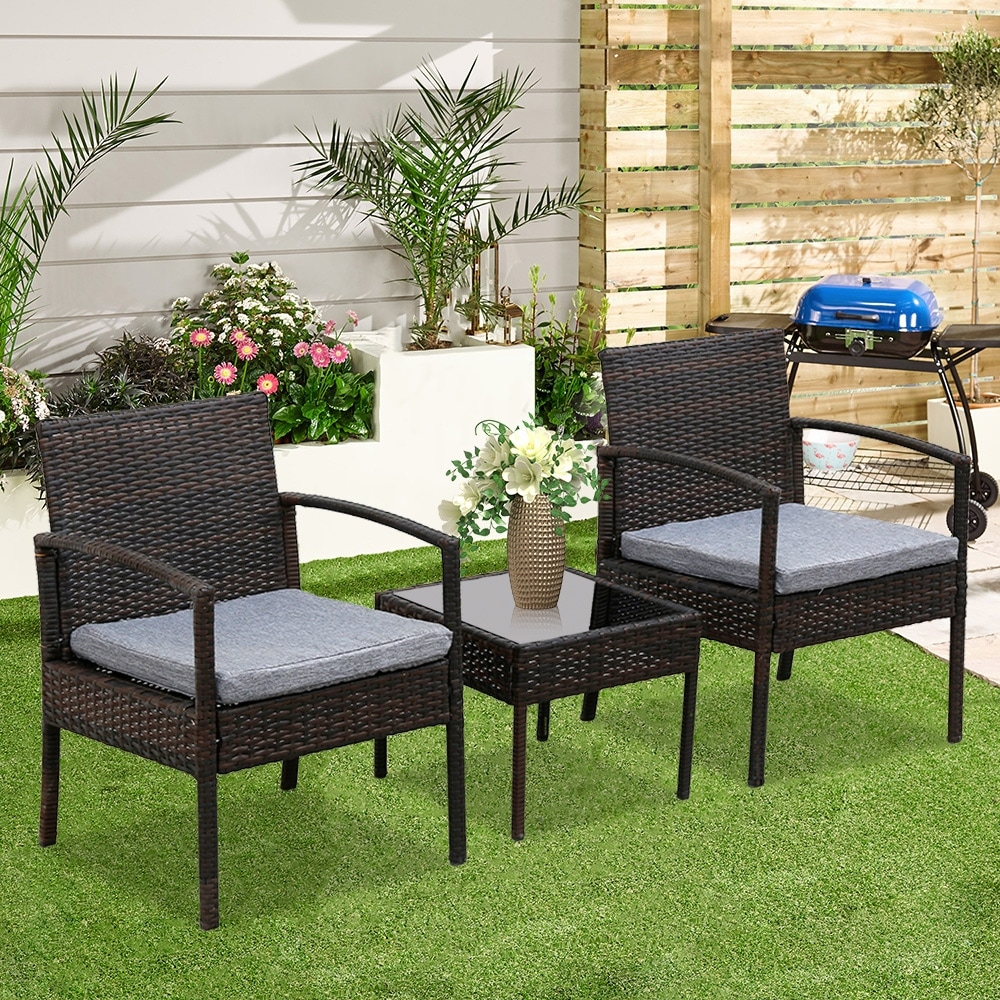 3-Piece Wicker Rattan Cushioned Patio Set! 9.99 with free shipping at UntilGone!