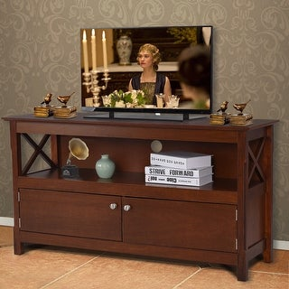 Costway 44'' TV Stand Console Wooden Storage Cabinet Shelf Media Center Television Stand - brown