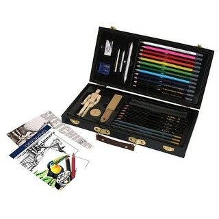 Essentials Beginner's Drawing and Sketching Art Set Set, Clear Case, Set of 43