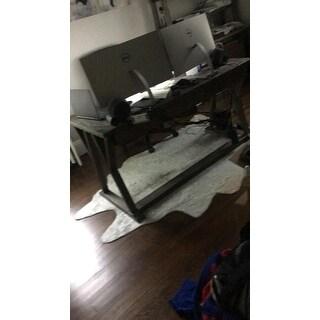 "Alexander Home Faux Cowhide Silver Grey Area Rug - 5'0 x 6'6"""