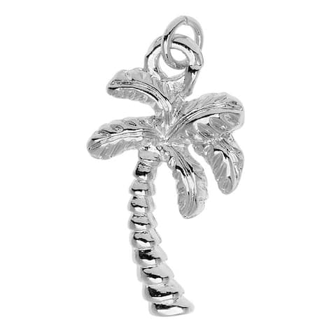 Silver Plated Lightweight Charm, Palm Tree 20.7x11.3x3.4mm, 1 Piece, Silver