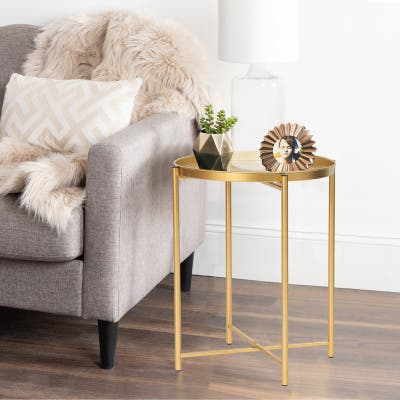 ADECO Tray End Table Gold Metal Side Small Accent Coffee Nightstand