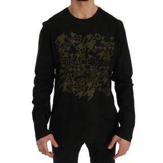 Versace Black Motive Cotton T-Shirt