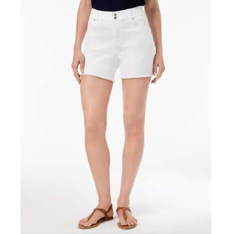 Style & Co Women's Frayed-Hem Denim Shorts Bright White Size 14