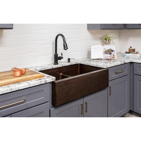Premier Copper Products KSP2_KA60DB33229-SD5 Kitchen Sink, Pull Down Faucet and Accessories Package