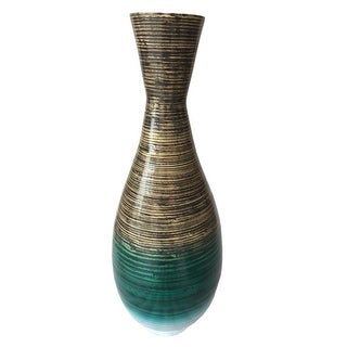 "Link to 28"" High Distressed Aqua Spun Bamboo Artisan Floor Vase Similar Items in Decorative Accessories"