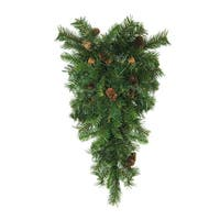 "30"" Dakota Red Pine Artificial Christmas Swag with Pine Cones - Unlit - green"