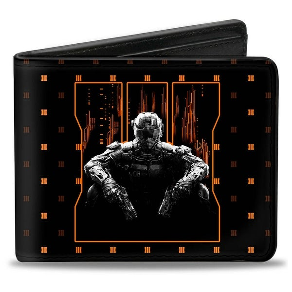 Call Of Duty Black Ops Iii Soldier Logo Trey Monogram Black Oranges Grays Bi-Fold Wallet - One Size Fits most