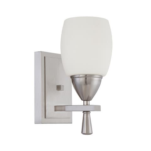 Sunset Lighting Bristol Vanity Wall Light - Dimmable, Suitable for Damp Locations - Bright Satin Nickel