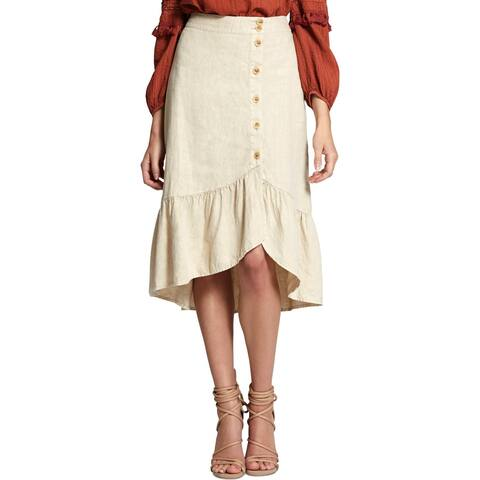 Sanctuary Womens Lola Asymmetrical Skirt Linen Ruffle-Hem