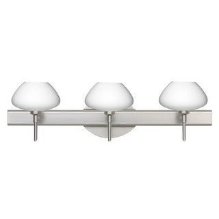 Besa Lighting 3SW-541007 Peri 3 Light Reversible Halogen Bathroom Vanity Light with Opal Matte Glass Shades