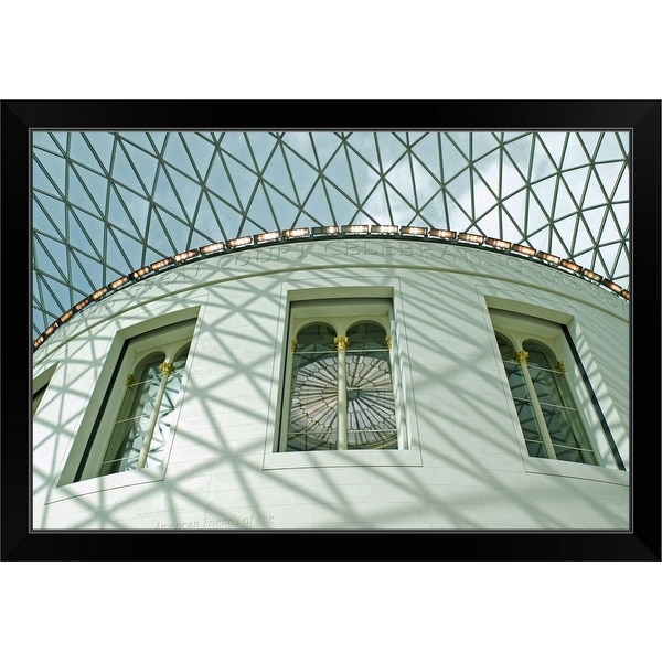 """Looking up at the circular British Museum Reading Room"" Black Framed Print"