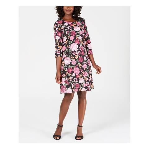 KAREN SCOTT Black 3/4 Sleeve Above The Knee Dress XS