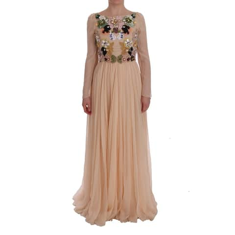 Pink Silk Floral Crystal Maxi Gown Men's Dress