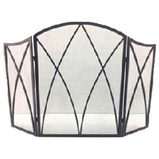 "Panacea 15193 Gothic Style 3-Panel Fireplace Screen, 32"" x 48"", Eggshell Black"
