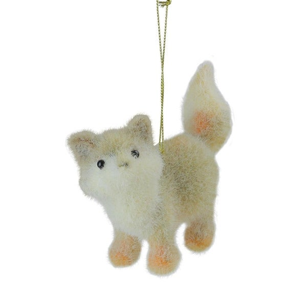 "4.5"" Tan, White and Orange Fuzzy Standing Fox Christmas Ornament - brown"
