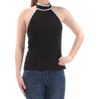 Womens Black Sleeveless Halter Casual Top Size S