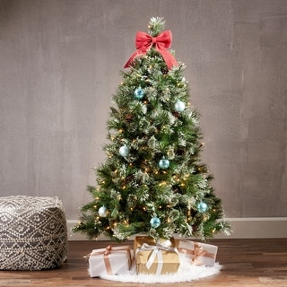 Link to 4.5-foot Cashmere Pine and Mixed Spruce Artificial Christmas Tree by Christopher Knight Home Similar Items in Christmas Greenery
