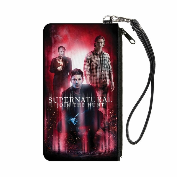 Supernatural Join The Hunt Crowley Dean Sam Group Pose Black Red Glow Canvas Zipper Wallet