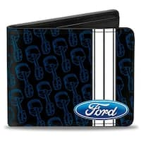 Ford Oval Stripe Piston Repeat Black Blue White Bi Fold Wallet - One Size Fits most
