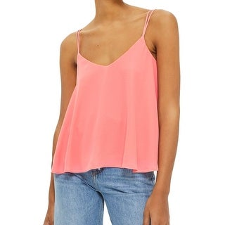 TopShop NEW Pink Women Size 10 V-Neck Swing Crepe Cami Double-Strap Top