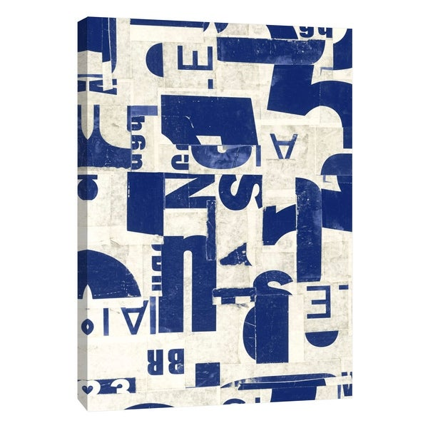 """PTM Images 9-105351 PTM Canvas Collection 10"""" x 8"""" - """"Collaged Letters Blue E"""" Giclee Abstract Art Print on Canvas"""